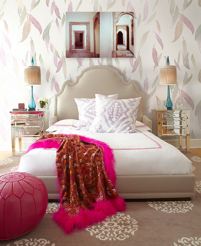 Gorgeous wallpaper and bright Moroccan Ottoman steal the show [By Brett Design]