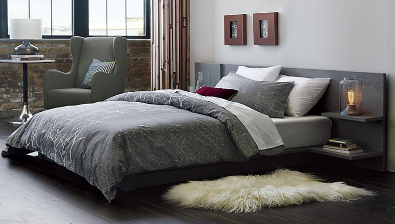 Grey tree-motif bedding