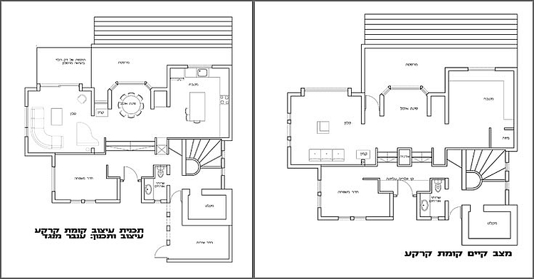 Ground floor plans before and after the renovation