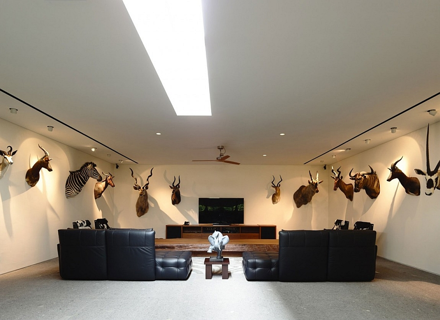 Hard to miss the wall additions in this interesting entertainment room