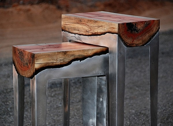 Hilla Shamia aluminum and tree trunk stools