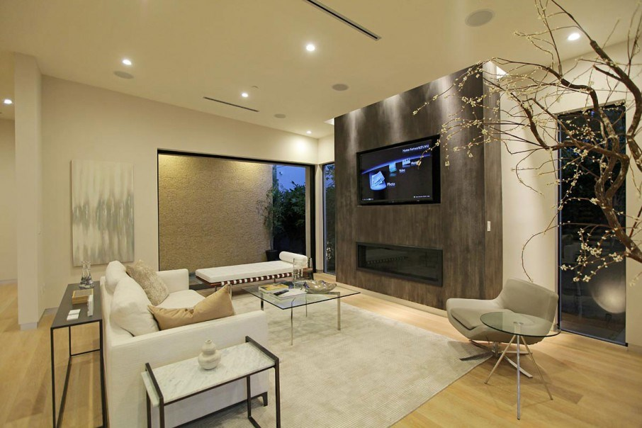 Indoor blossoms in a modern living room