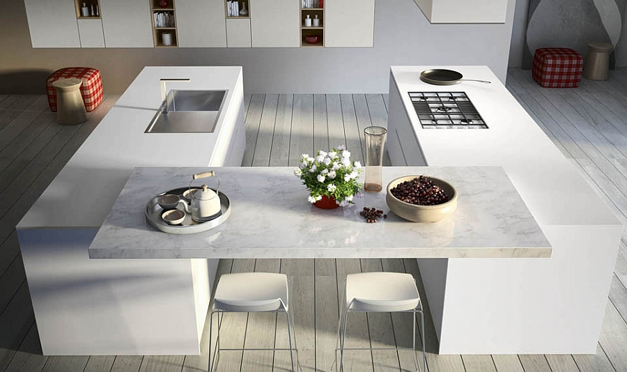 Innovative modern kitchen in white with twin islands