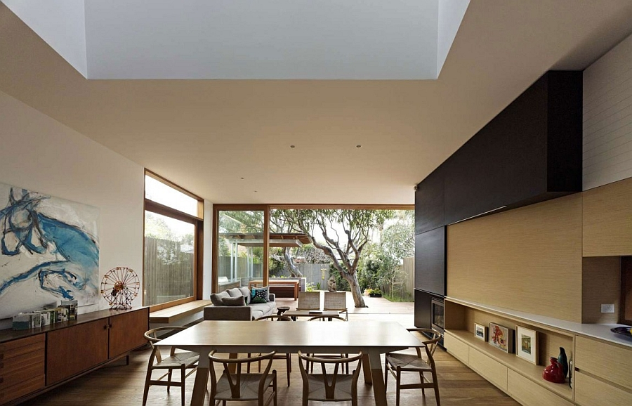 Interior of the house is seamlessly connected with the backyard