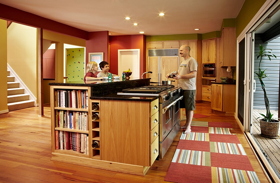 Inviting, transitional style kitchen with a smart dose of books!