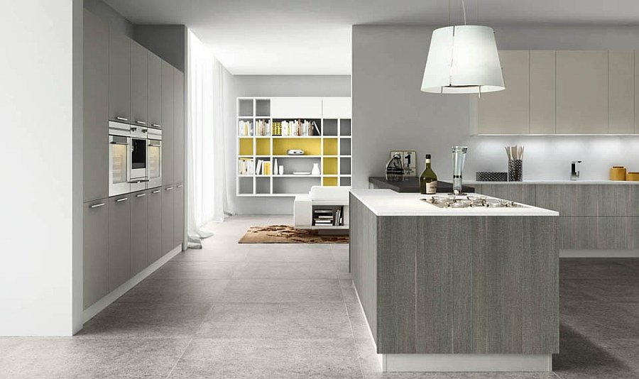 Kitchen in neutral tones blends with the living space in the backdrop