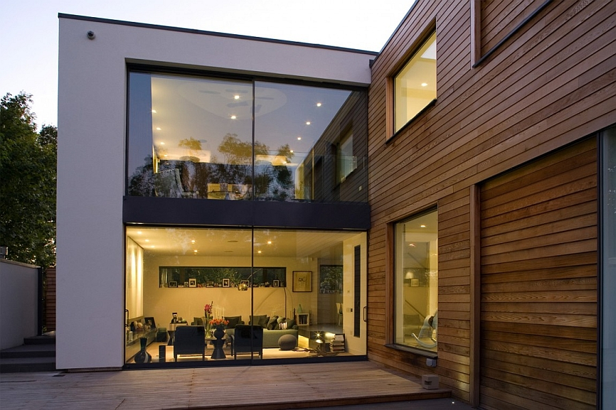Large glass doors give the London home a contemporary appeal