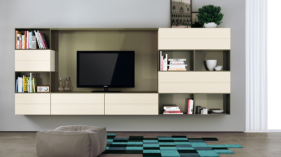 Lichen Green gloss lacquered finish for the open cabinets adds elegance to the living room wall unit