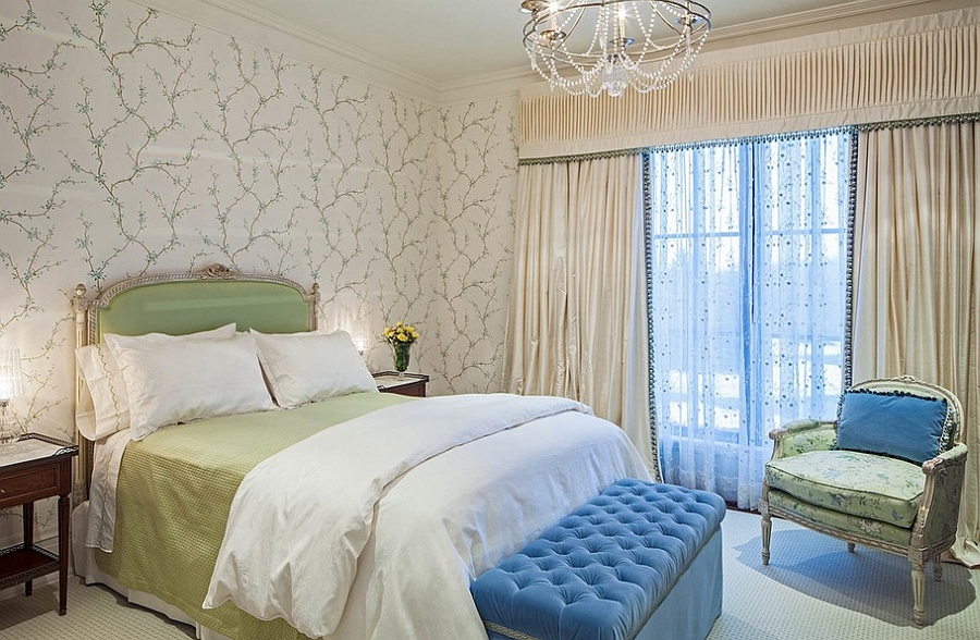 Lighter hues and soft curves give the room feminine charm [Design: Makow Associates Architect]
