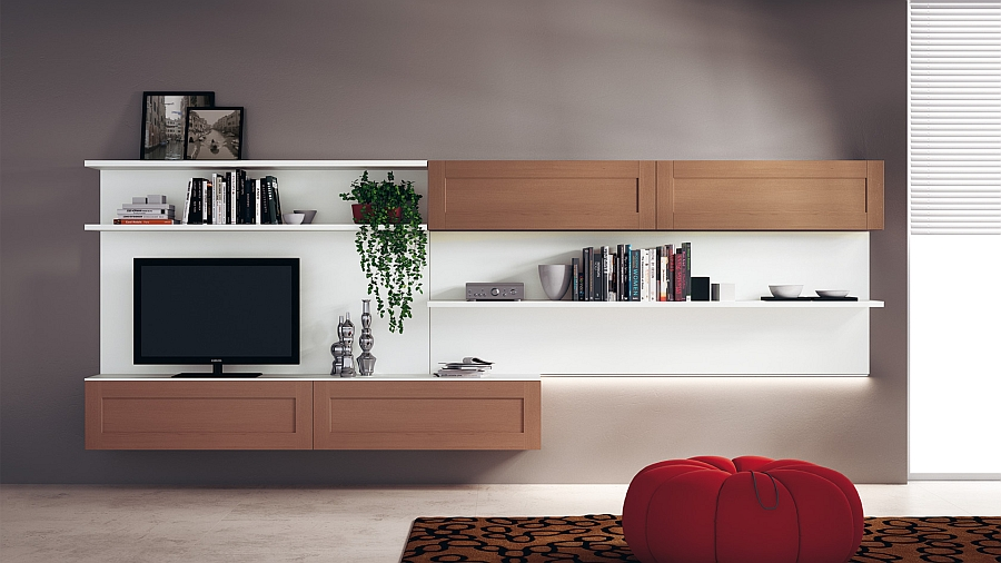 Living area wall-mounted composition with Tan Oak finish for closed shelves