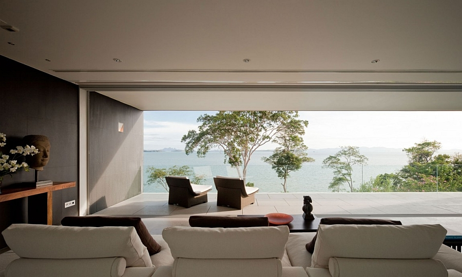 Living space of the cool Phuket House with fascinating sea views