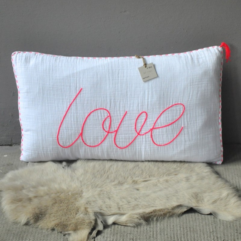 Love pillow with neon style