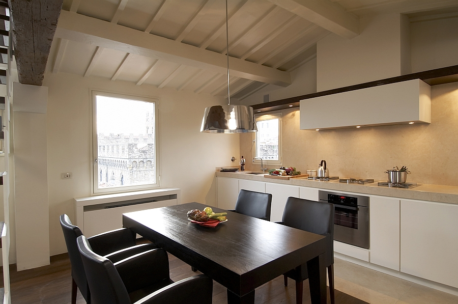 Lovely kitchen and dining area with a touch of metallic glint