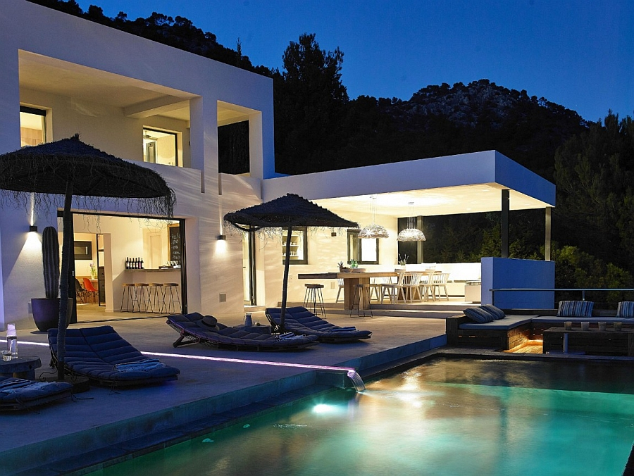 Lovely pool deck and outdoor dining space are perfect for the night parties in Ibiza