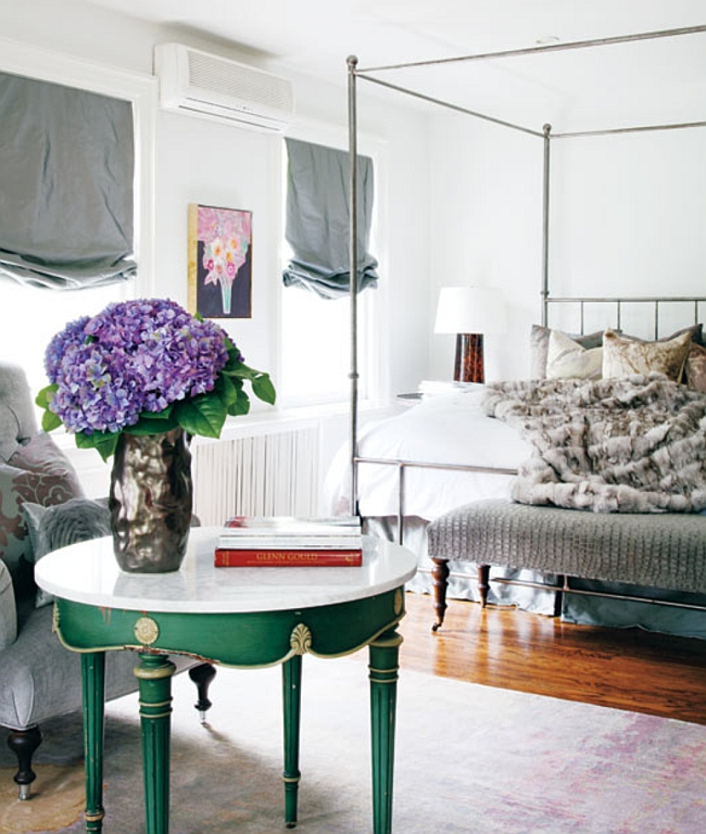 Luxurious bedroom with pops of green [Photography by Donna Griffith]
