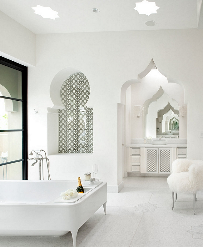 Luxurious contemporary bath uses the Moroccan Design elements [Design: Gordon Stein Design]