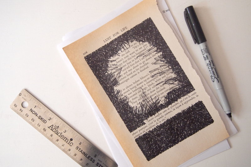 Make black lines back and forth to complete your Book-Page Wall Art Installation