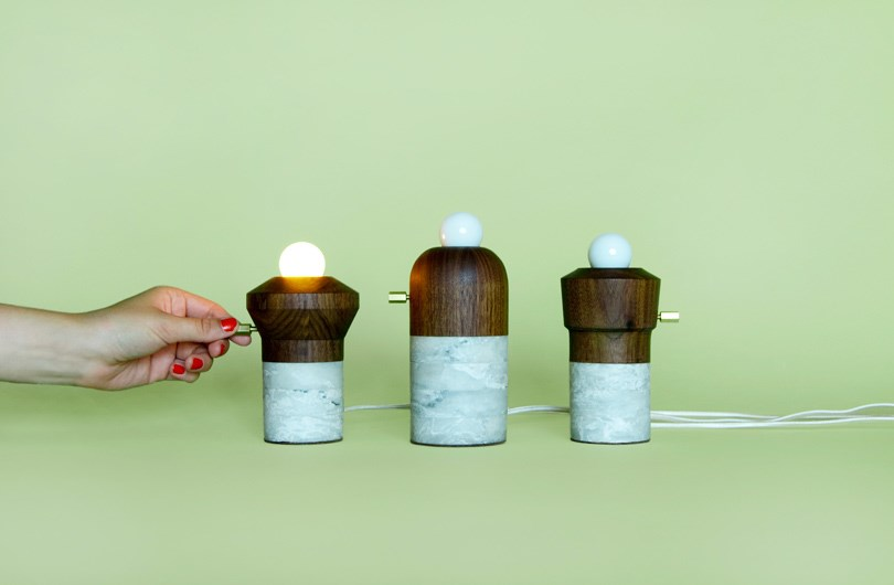 Marble and wood lights designed by Fort Standard