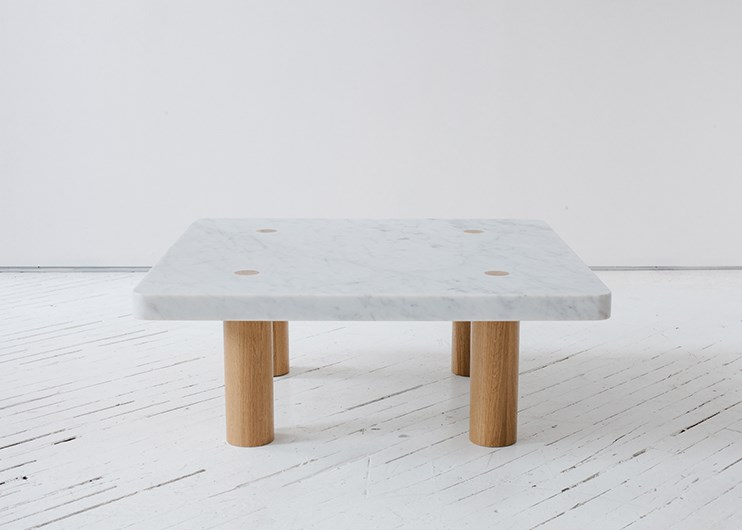 Marble and wooden Column Table by Fort Standard