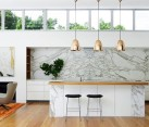 Marble kitchen backsplash contemporary home