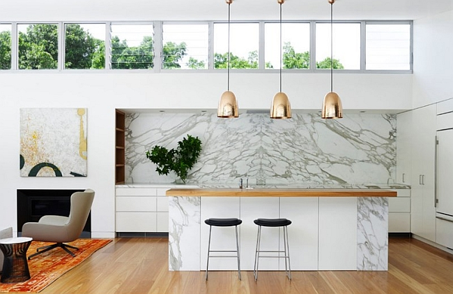 Image 6, 3 Brass Lamops,Marble Kitchen Backsplash Contemporary Home