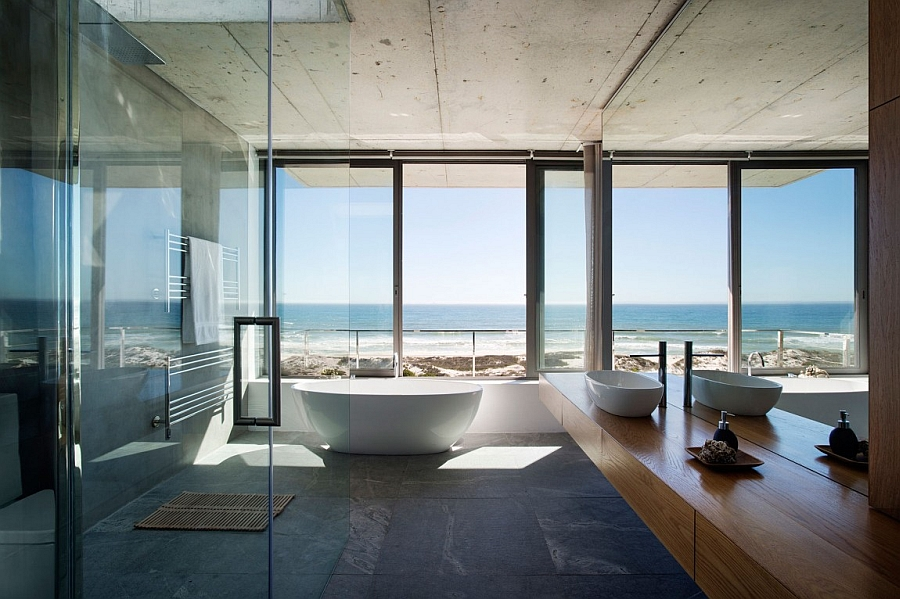 Master bathroom with beautiful ocean view offers style and serenity