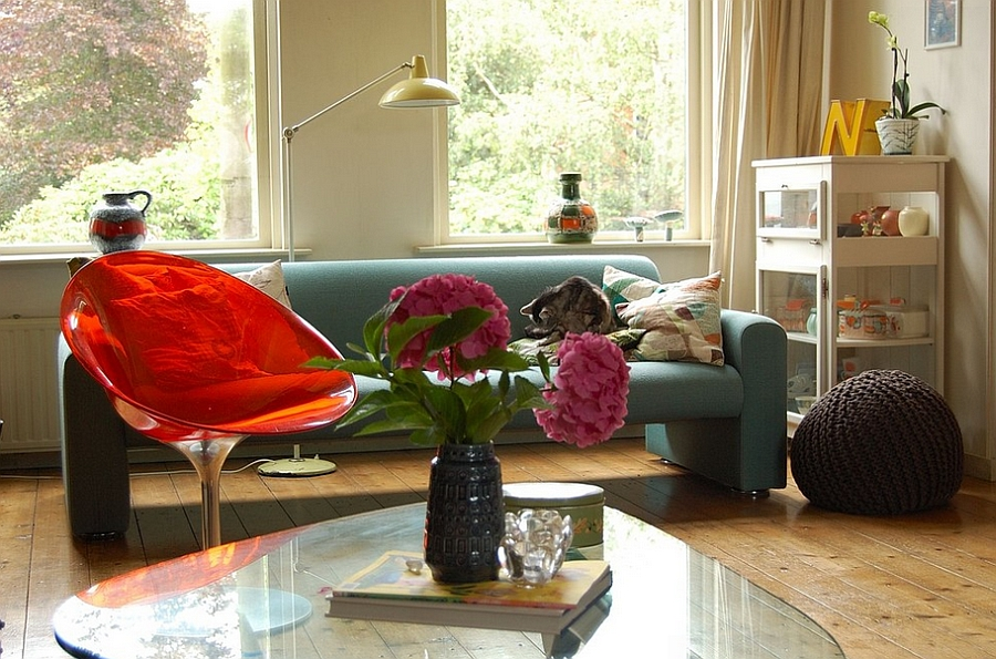 Midcentury living room with Eros Chair and the Noguchi Coffee table