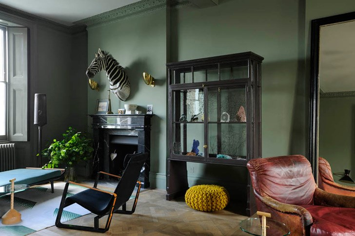 Mineral specimens and a zebra take center stage in this living room