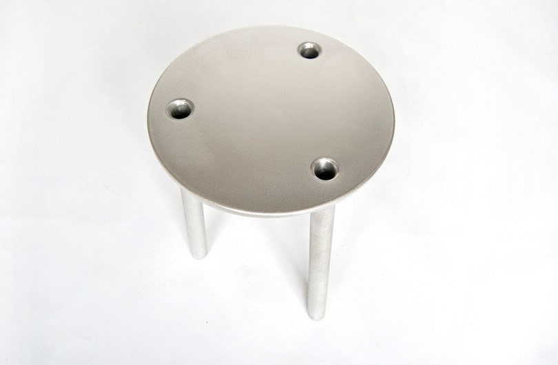Modern aluminum stool from Fort Standard