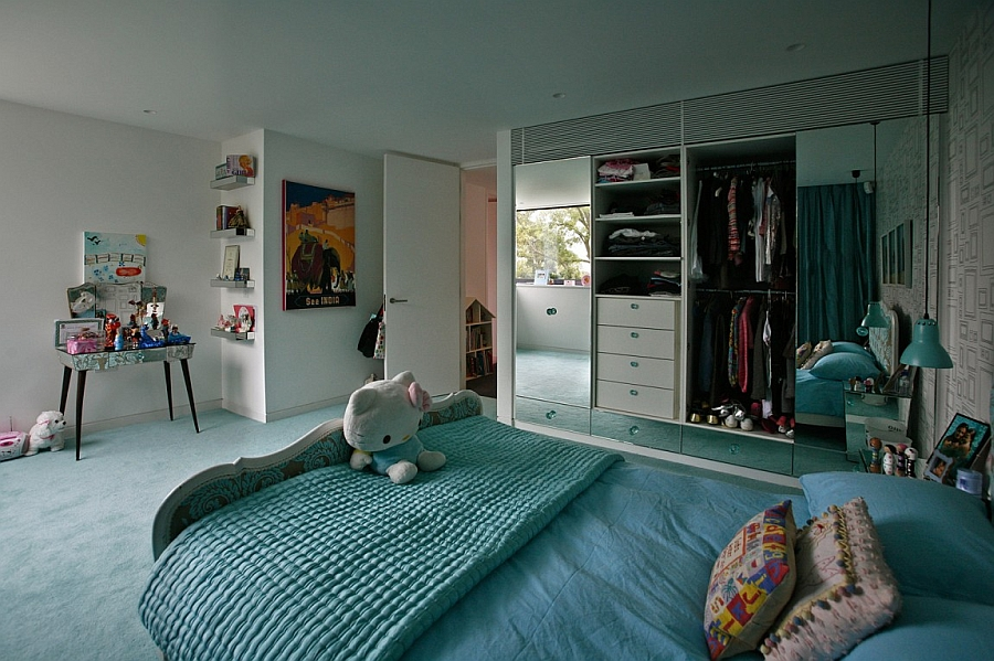 Modern kids' bedroom in London home in light blue