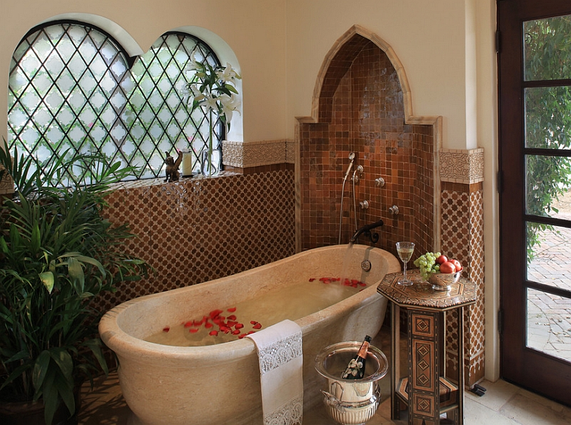 View In Gallery Moroccan Patterns Meet Spanish Colonial Style This Lavish Bathroom Design PavoReal Interiors