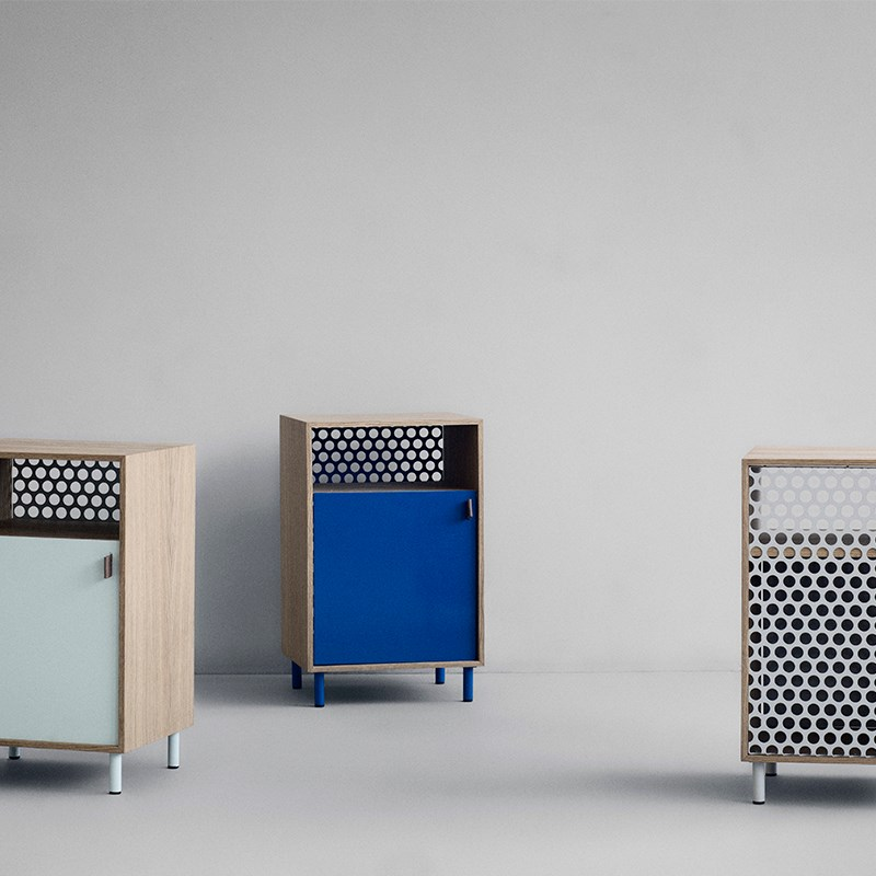 Oak, metal and leather cabinets from Ferm Living