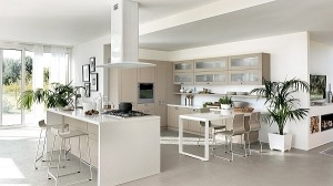 Open Living room and kitchen system from Scavolini
