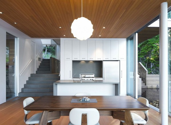 An open-plan kitchen with a highly modern design