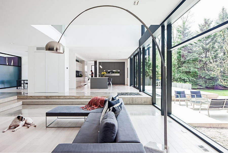 Open plan living area exudes cheerful airiness