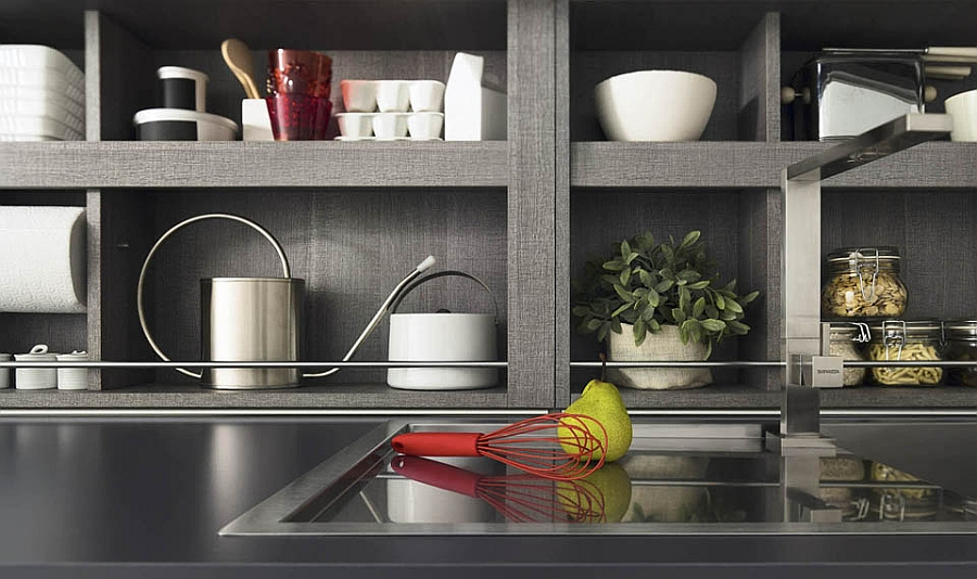 Open shelves allow you to decorate with your kitchenware