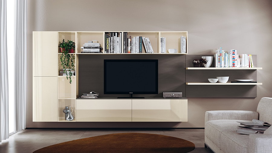 Open wall units combined with closed shelves in an elegant manner