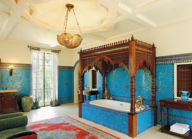 View In Gallery Opulent And Colorful Bathroom With Strong Moroccan Influence Design Chris Barrett