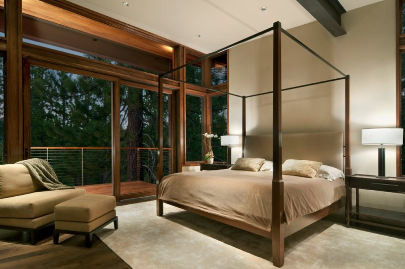 Plush modern bedroom with a view