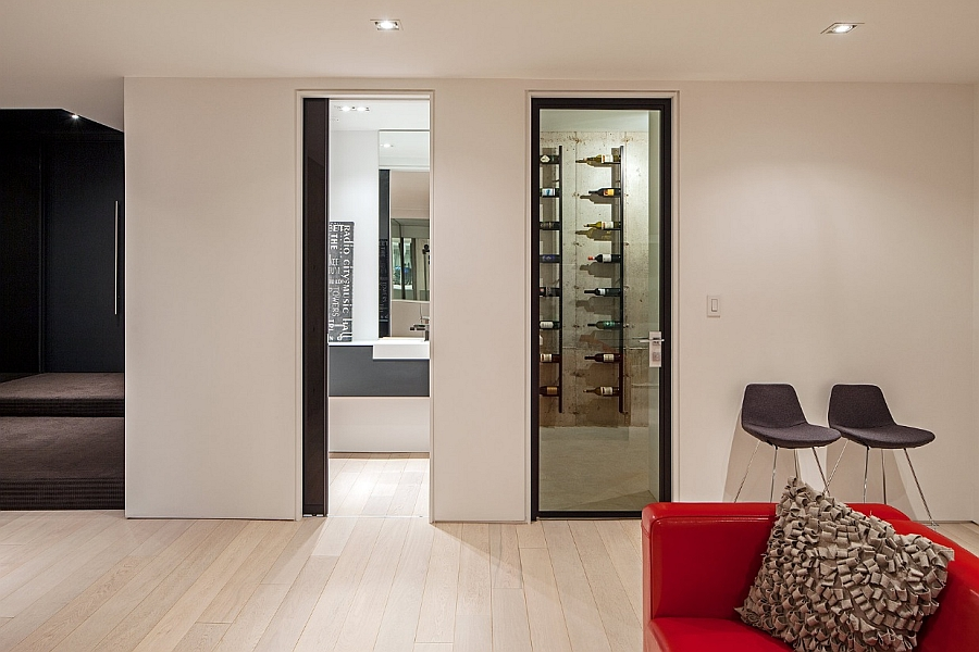 Private wine cellar in the basement with a modern flair