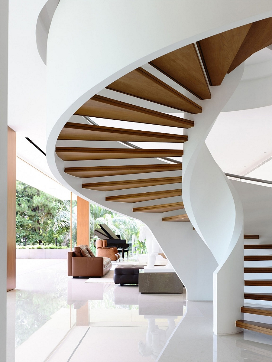 Sculptural and iconic spiral staircase steals the show