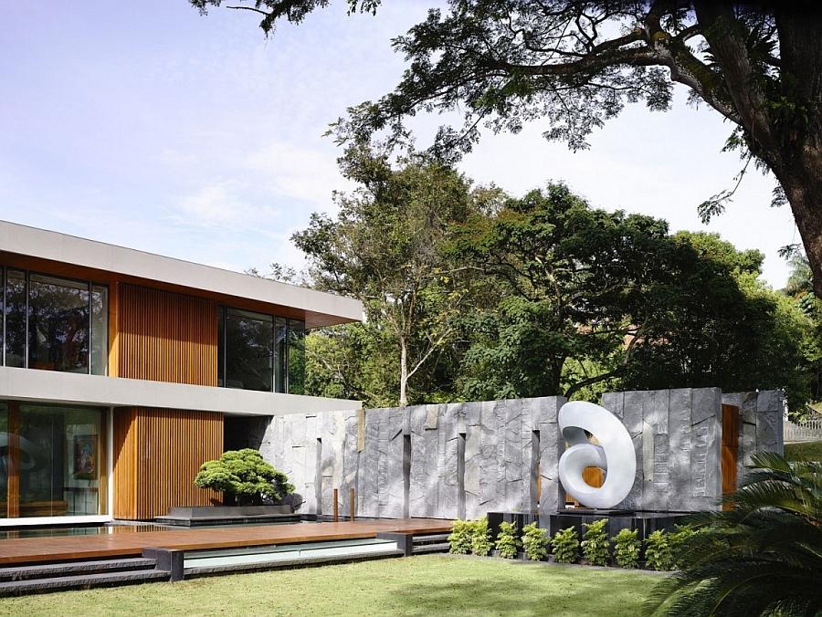 Sculptural art installations enliven the garden