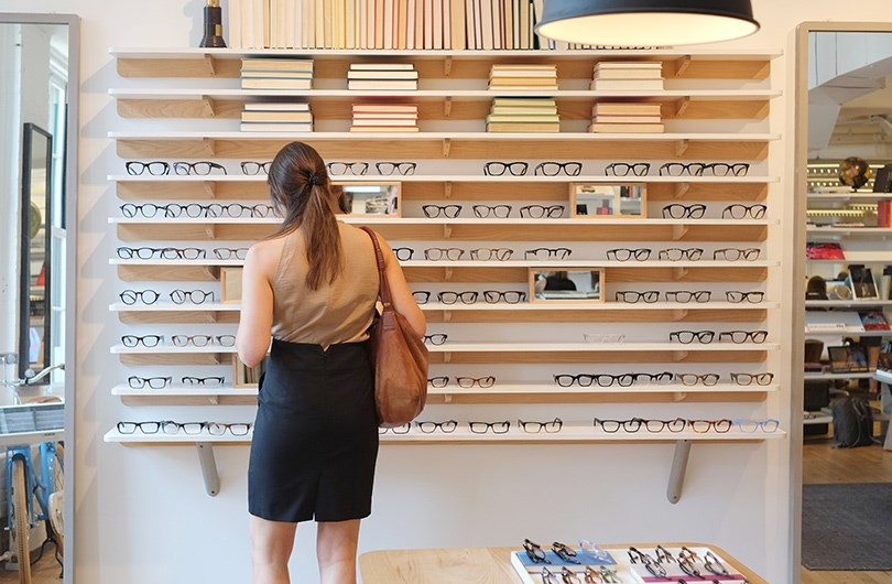 Shelving designed and built by Fort Standard for Warby Parker