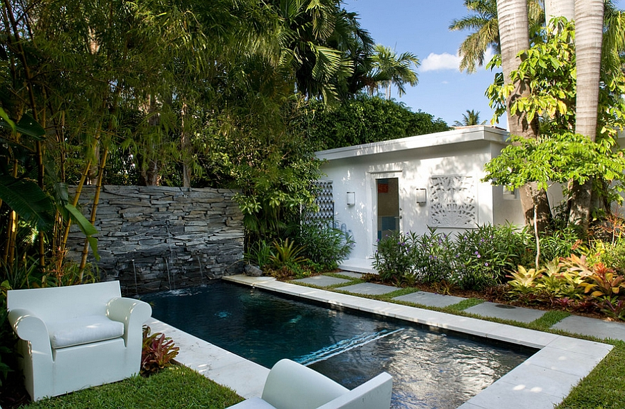 Simple and stylish poolside retreat with the Bubble Club Chair [Design: Robert Kaner Interior Design]