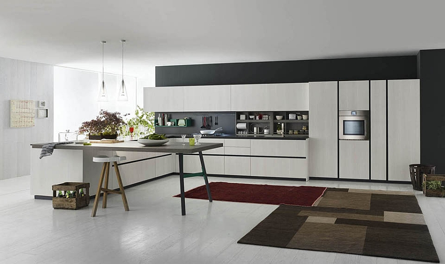 Modular italian kitchen with streamlined design and for Italian modular kitchen