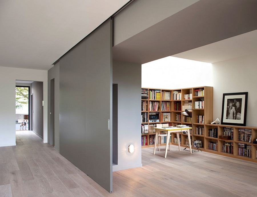 Sliding door between home office and dining creates a dynamic home environment