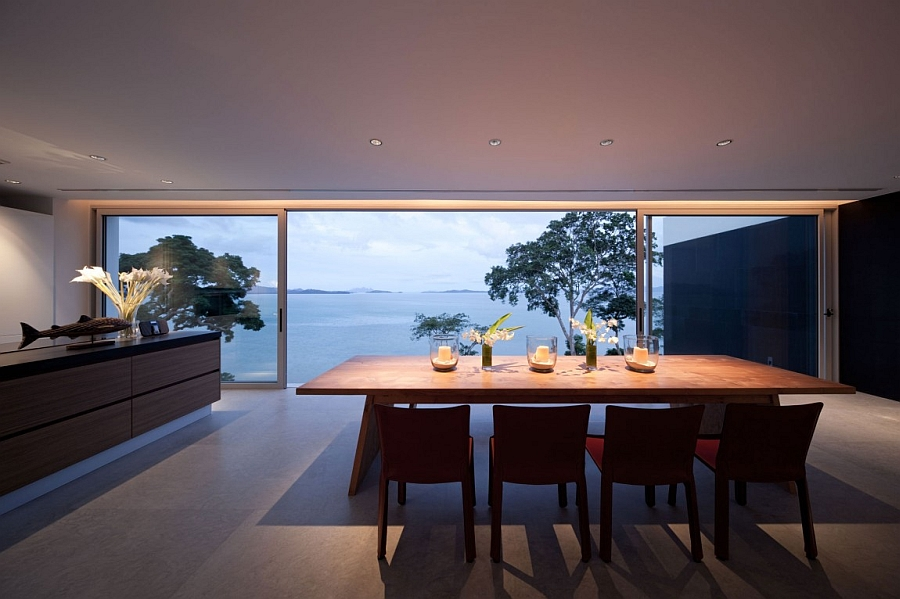 Sliding glass doors connect the interior with the outdoors seamlessly
