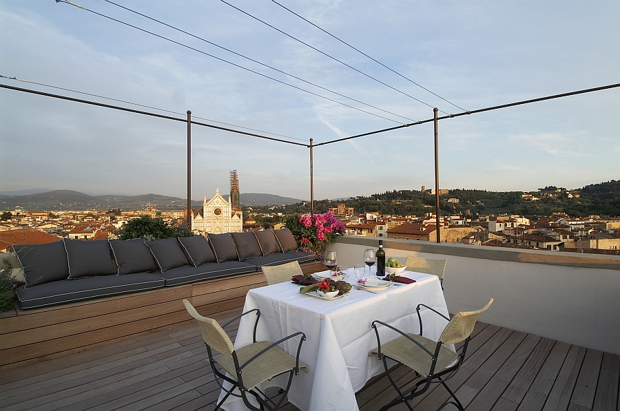 Small rooftop terrace takes the living room outdoors