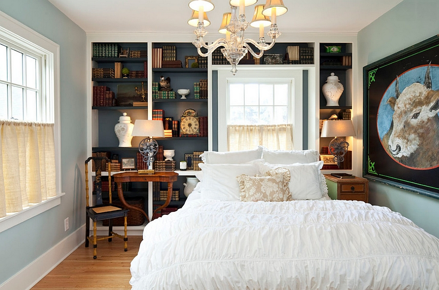 Smart bookshelf adds class and visual contrast to the bedroom [Design: Hendel Homes]
