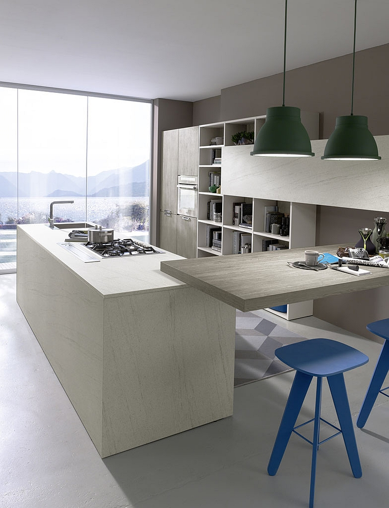 Smart extension to the kitchen island acts as a serving station